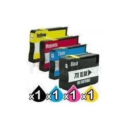 4 Pack HP 711XL Compatible Inkjet Cartridges [1BK,1C,1M,1Y]